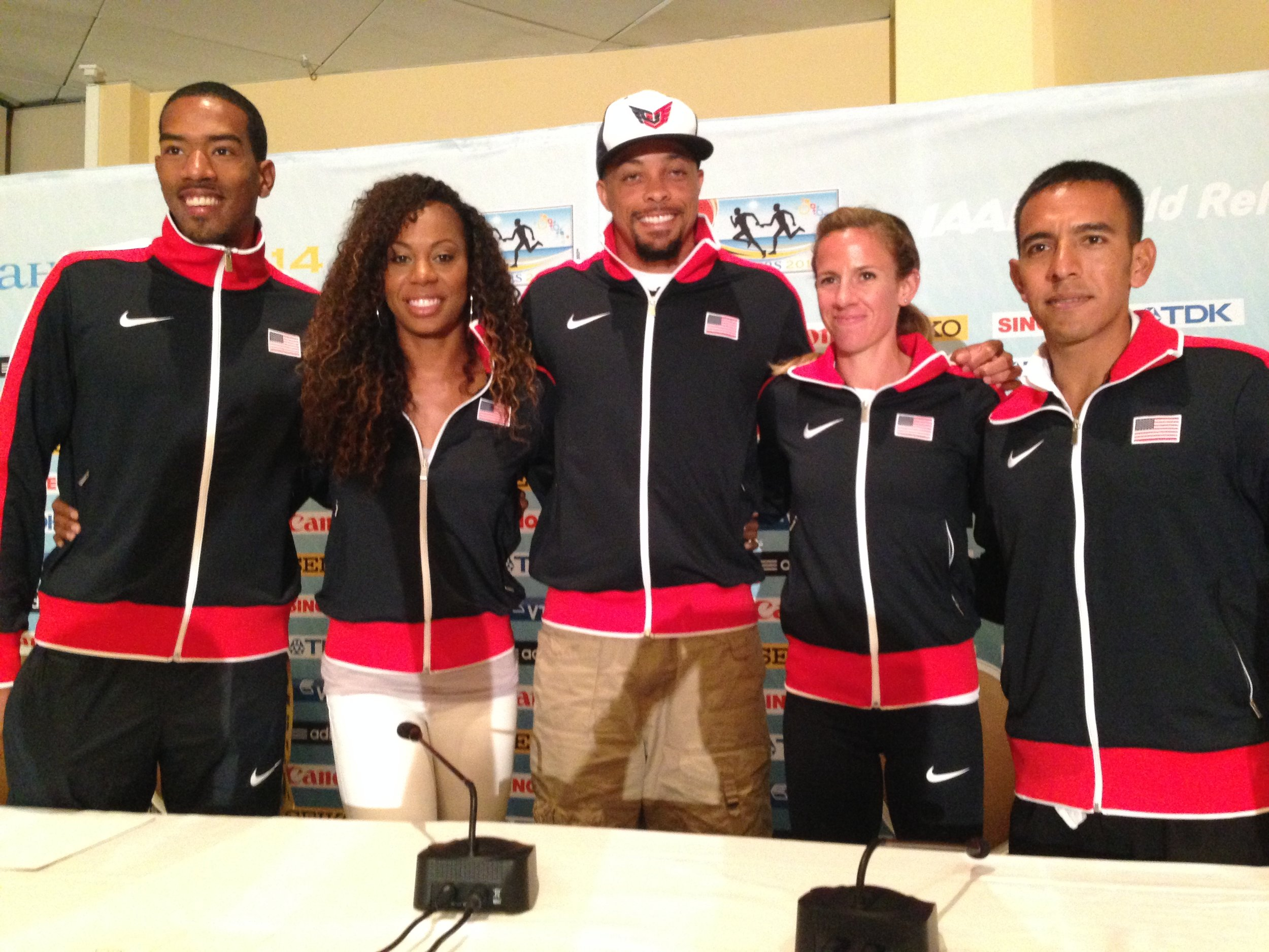 Left to right: Christian Taylor, Sanya Richards-Ross, Wallace Spearmon, Morgan Uceny, Leo Manzano at Friday's news conference