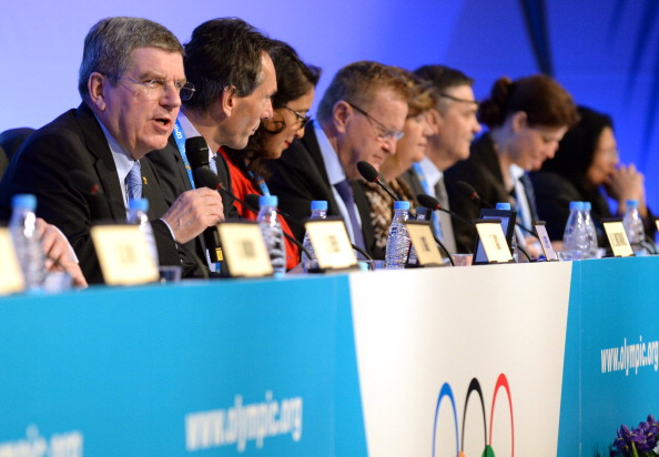 IOC president Thomas Bach leading the session in Sochi two days before the start of the 2014 Games // photo Getty Images
