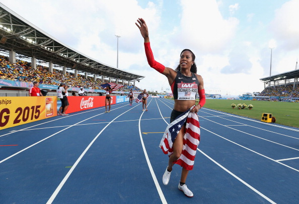 Sanya Richards-Ross after the U.S. women's winning 4x400 relay // photo Getty Images