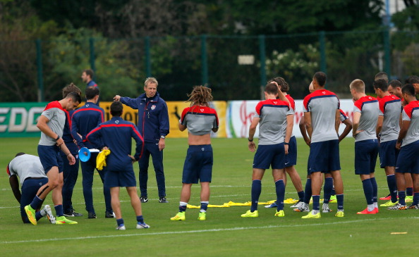Head coach Jurgen Klinsmann with the US team during training last week in Brazil // photo courtesy Getty Images