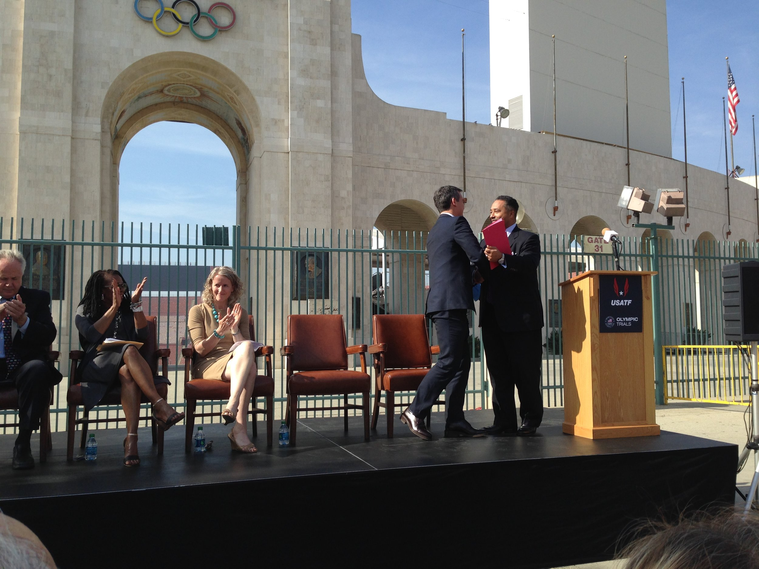At a 2014 LA Marathon announcement, in front of the famed peristyle end of the LA Coliseum
