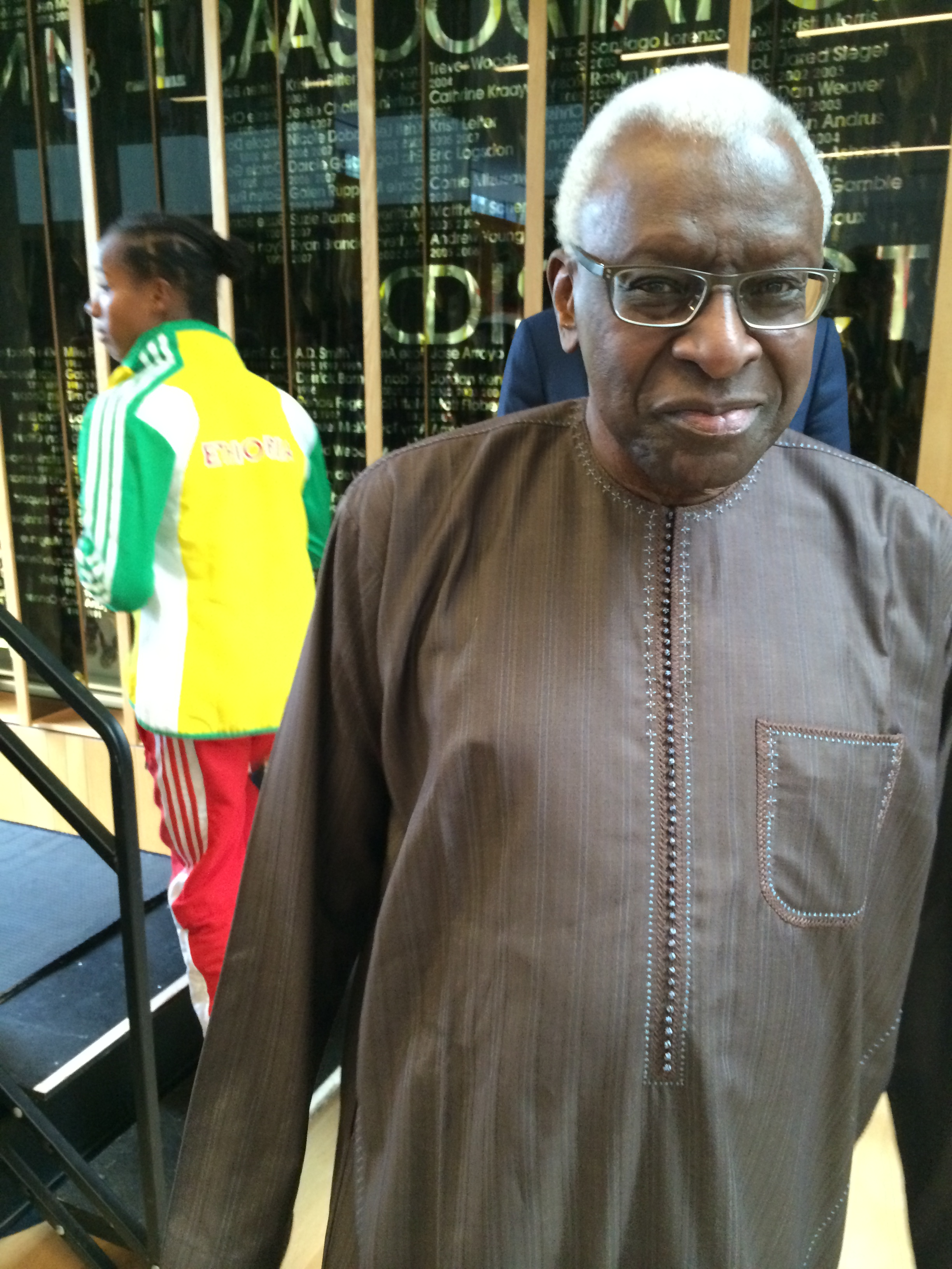 IAAF president Lamine Diack at Monday's news conference on the University of Oregon campus