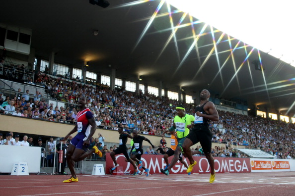 Justin Gatlin (left) wins the men's 100 in Lausanne over Tyson Gay and Mike Rodgers // photo Getty Images