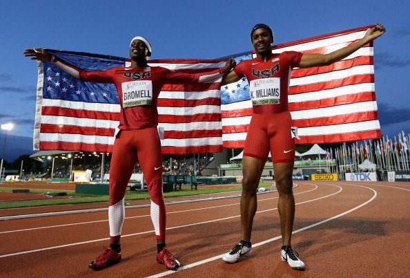 Trayvon Bromell and Kendall Williams after going 1-2 in the men's 100 // photo Getty Images