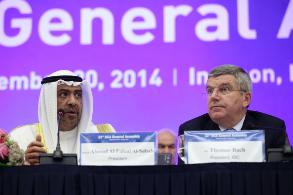 IOC president Thomas Bach (right), with Olympic Council of Asia president Sheikh Ahmad Al-Fahad Al-Sabah at the OCA general assembly in Incheon, South Korea // photo Getty Images