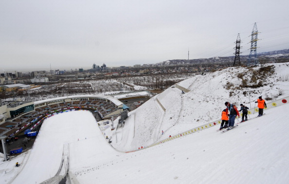 A scene before the men's team ski jump event at the Asian Winter Games in 2011 in Almaty, Kazakhstan // photo Getty Images