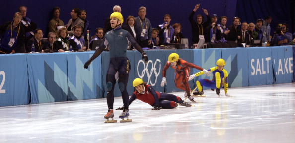 Australia's Steven Bradbury, the last man standing, wins the 1000-meter short track event at the 2002 Winter Games // photo Getty Images
