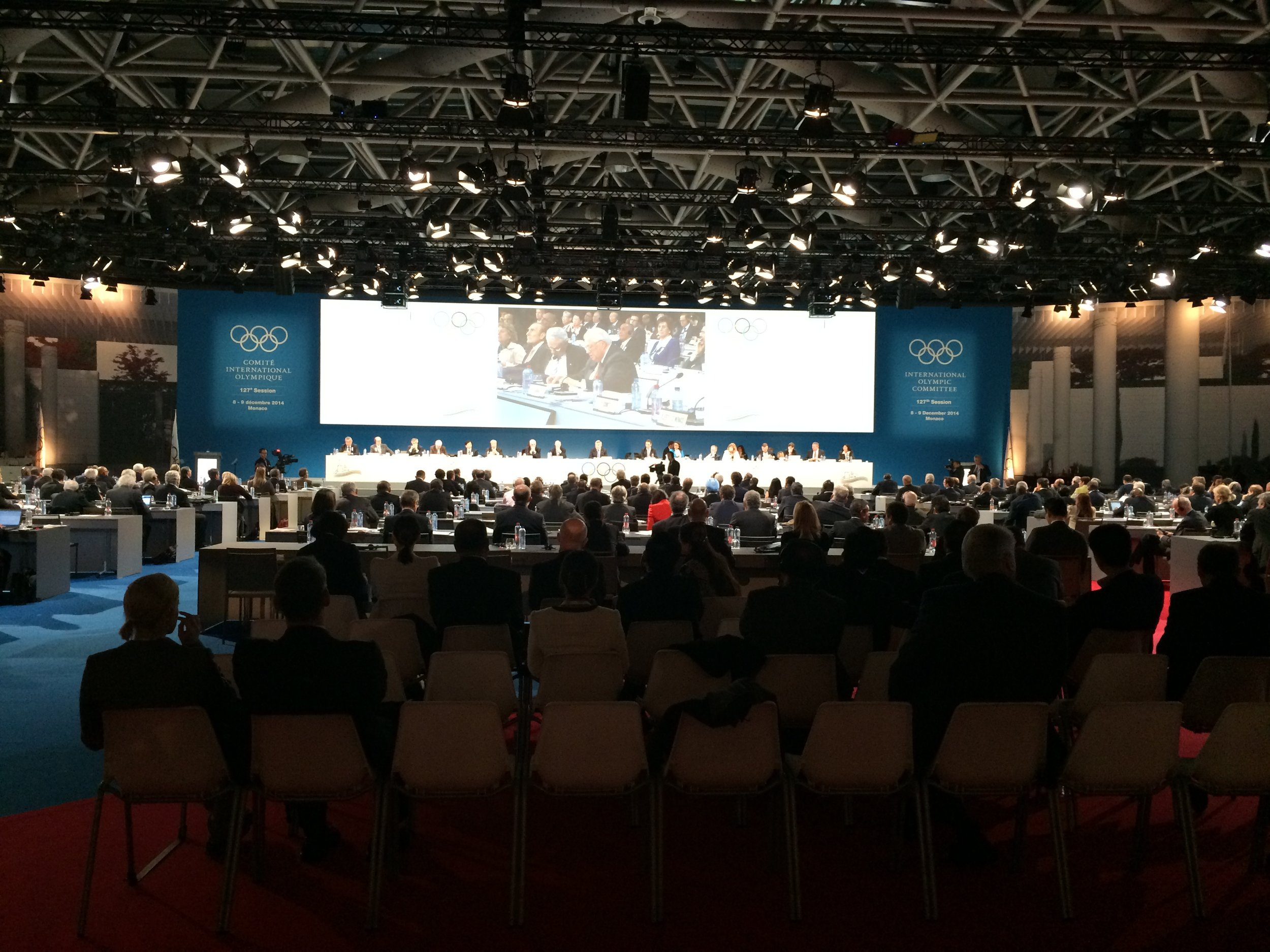 From the back of the room, almost at the end of the  127th IOC session in Monaco