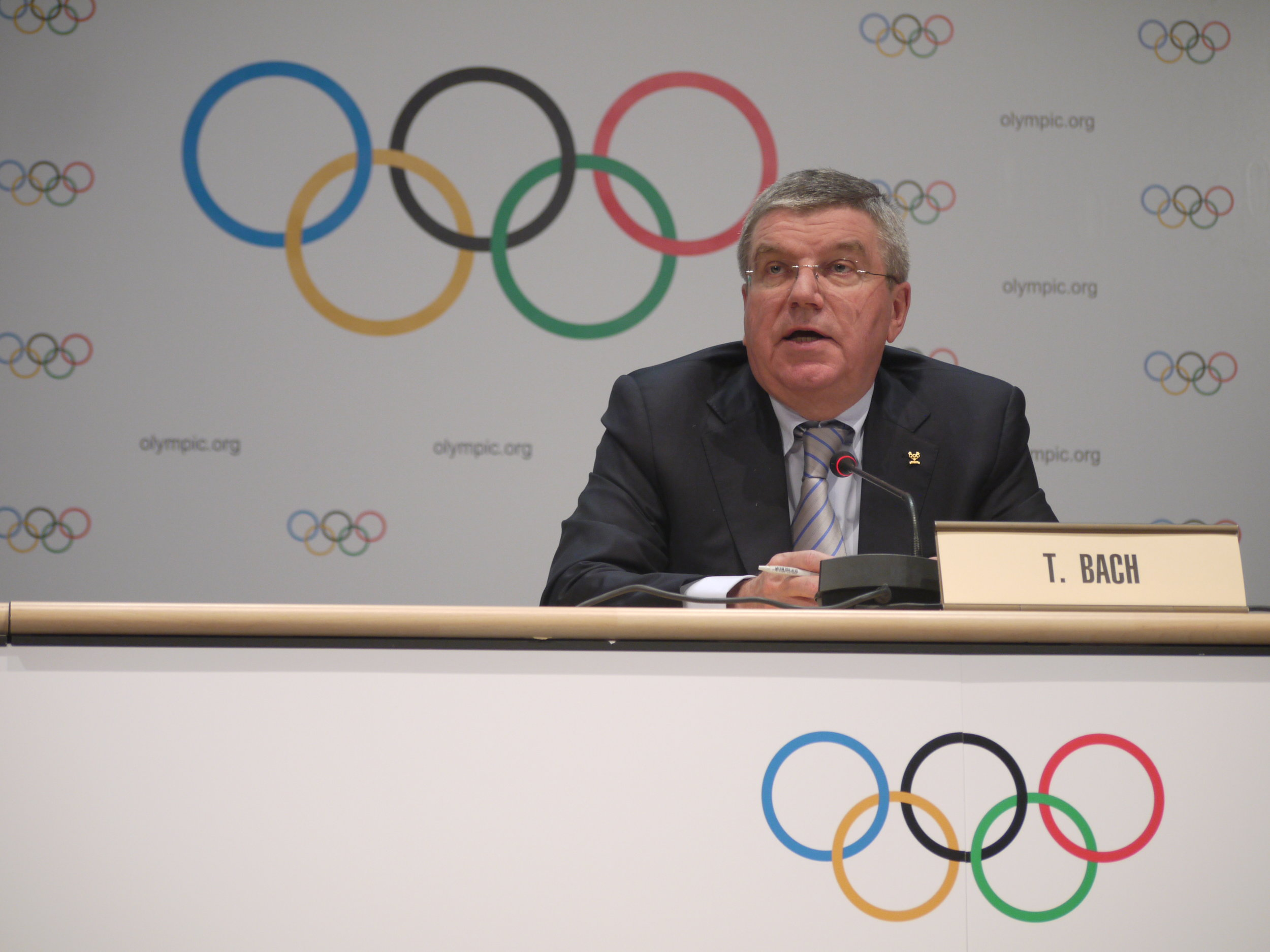 IOC president Thomas Bach meeting the press in Monaco // photo Edward Hula III