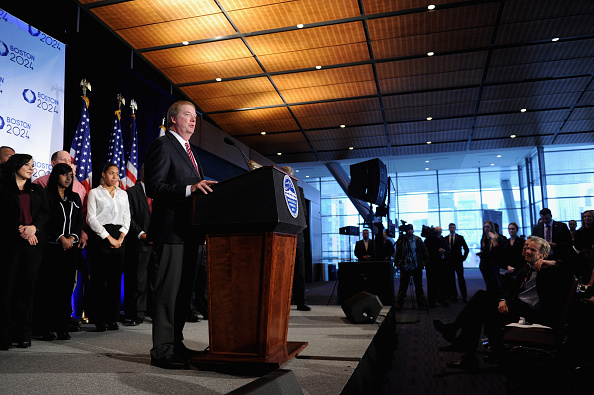 USOC board chairman Larry Probst at Friday's news conference in Boston // Getty Images