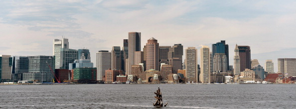 The Boston skyline from across Boston harbor // Getty Images