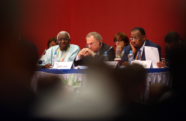 IAAF president Lamine Diack, left, alongside vice-presidents Robert Hersh and Dahlan Jumaan al-Hamad at the 2013 world championships in Moscow // photo Getty Images