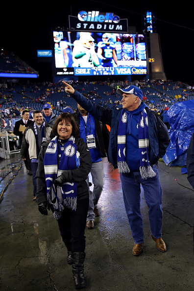 Indiana Gov. Mike Pence, right, at January's AFC championship game // photo Getty Images