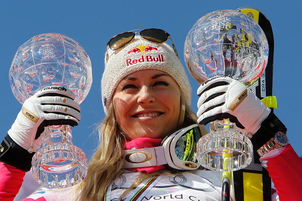 Lindsey Vonn with her downhill and super-G World Cup crystal globes // photo Getty Images