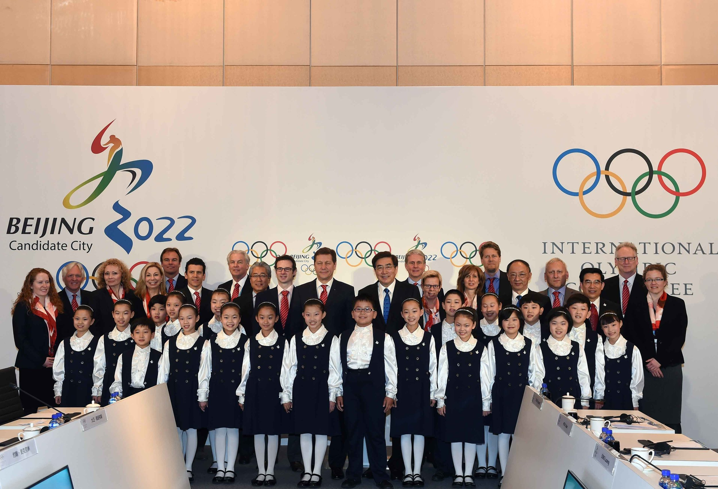 The IOC evaluation commission at the Beijing closing ceremony // photo courtesy Beijing 2022