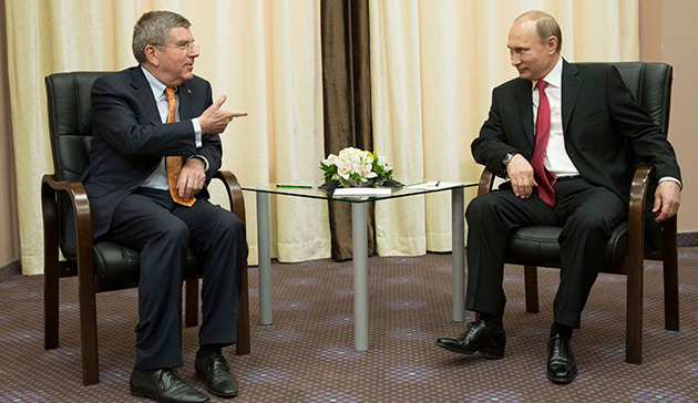 IOC president Thomas Bach, Russian Federation president Vladimir Putin in Sochi on Monday // photo IOC