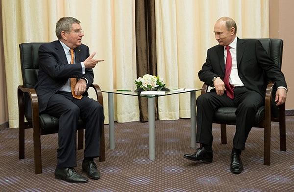 IOC president Thomas Bach meets in Sochi with Russian president Vladimir Putin