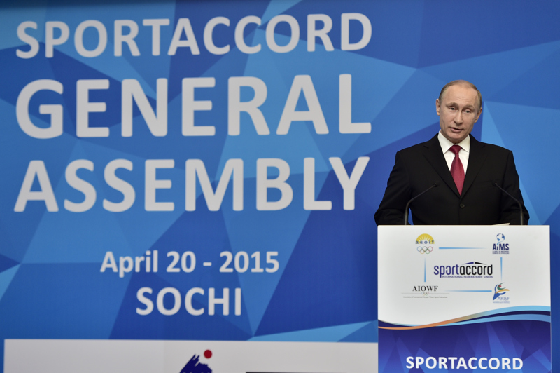 Vladimir Putin addressing the SportAccord general assembly