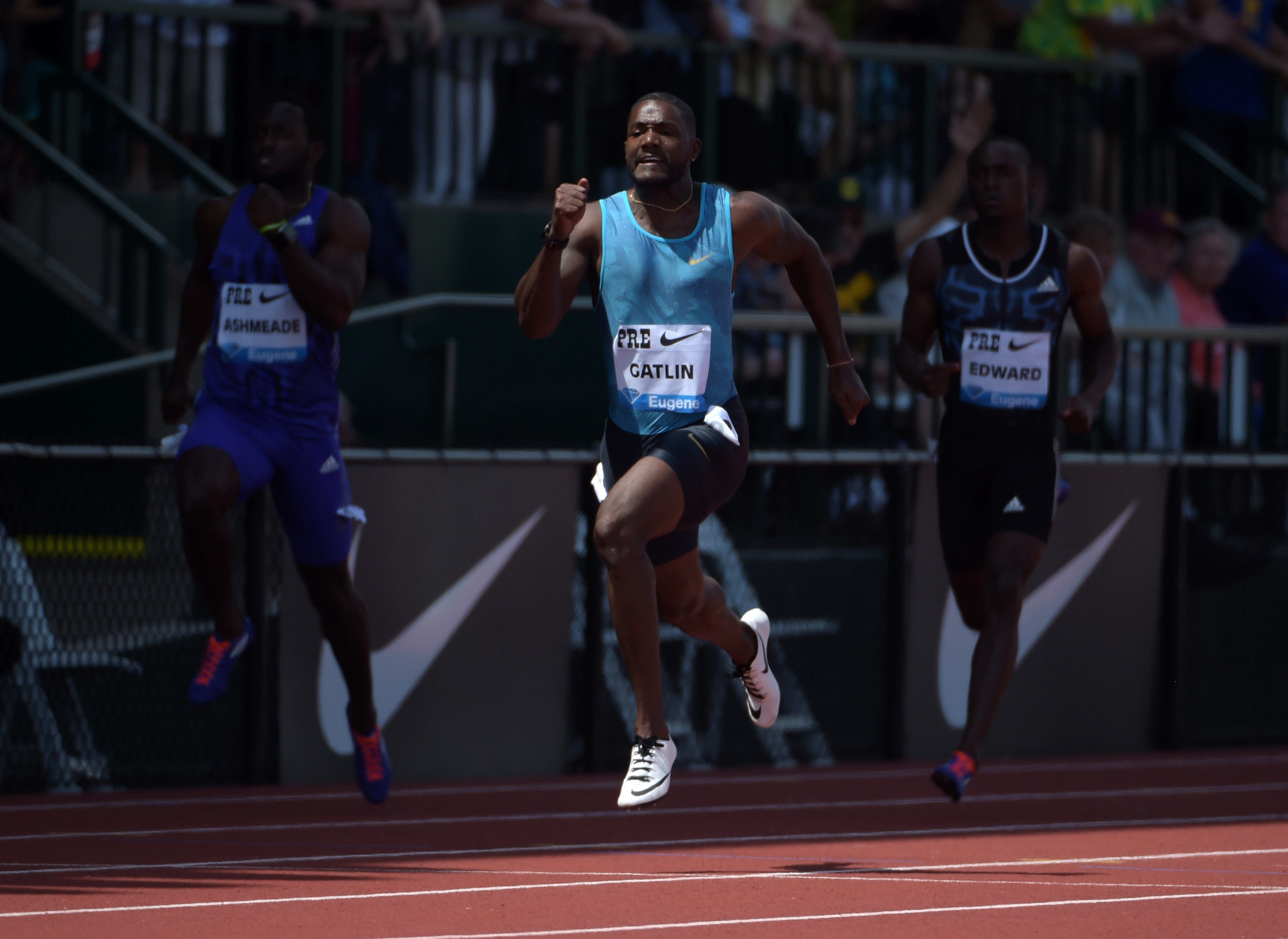 Justin Gatlin running away with Saturday's 200 at Hayward Field // photo courtesy USATF