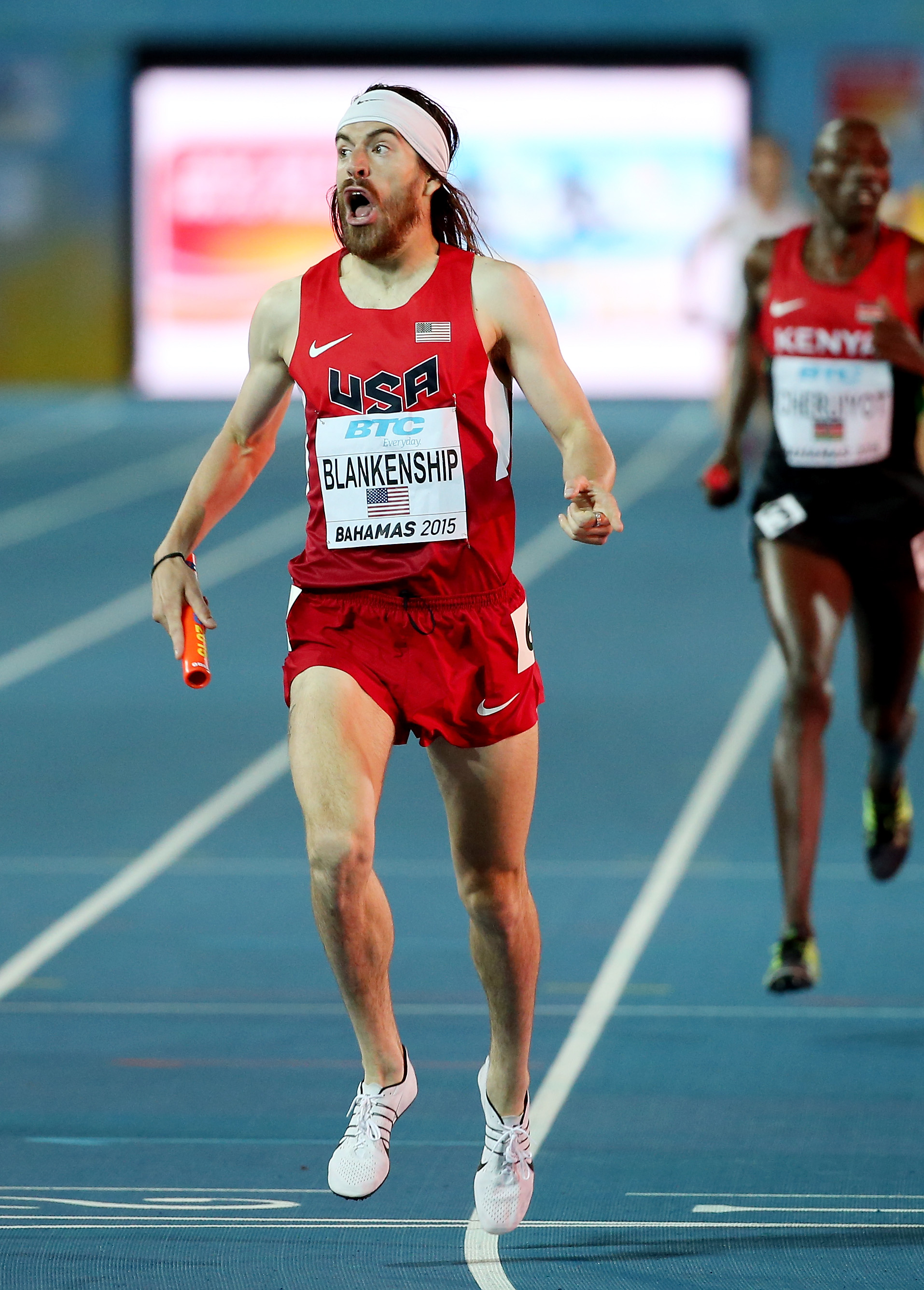 Ben Blankenship of the United States winning the distance medley relay // photo Getty Images and IAAF