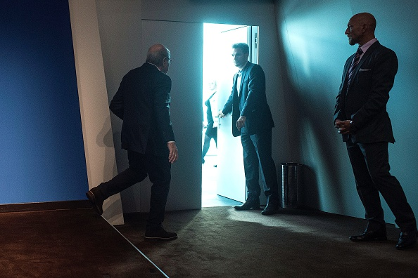 Blatter exiting the stage after announcing June 2 he was out // Getty Images