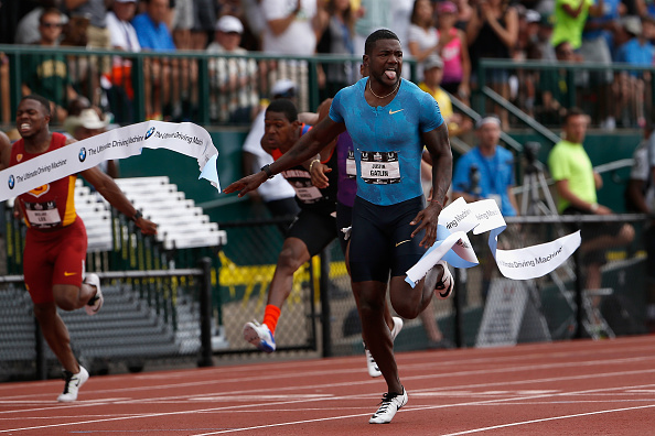 Justin Gatlin is all alone at the finish line of the 200 at Hayward Field, in 19.57 seconds // Getty Images
