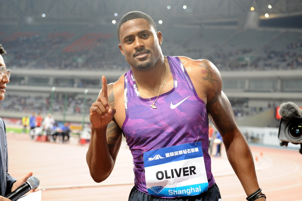 David Oliver at the 2015 Diamond League meet in Shanghai // photo USATF