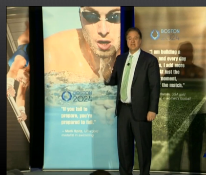 Boston 2024 bid leader Steve Pagliuca at Monday's news conference // screenshot WCVB