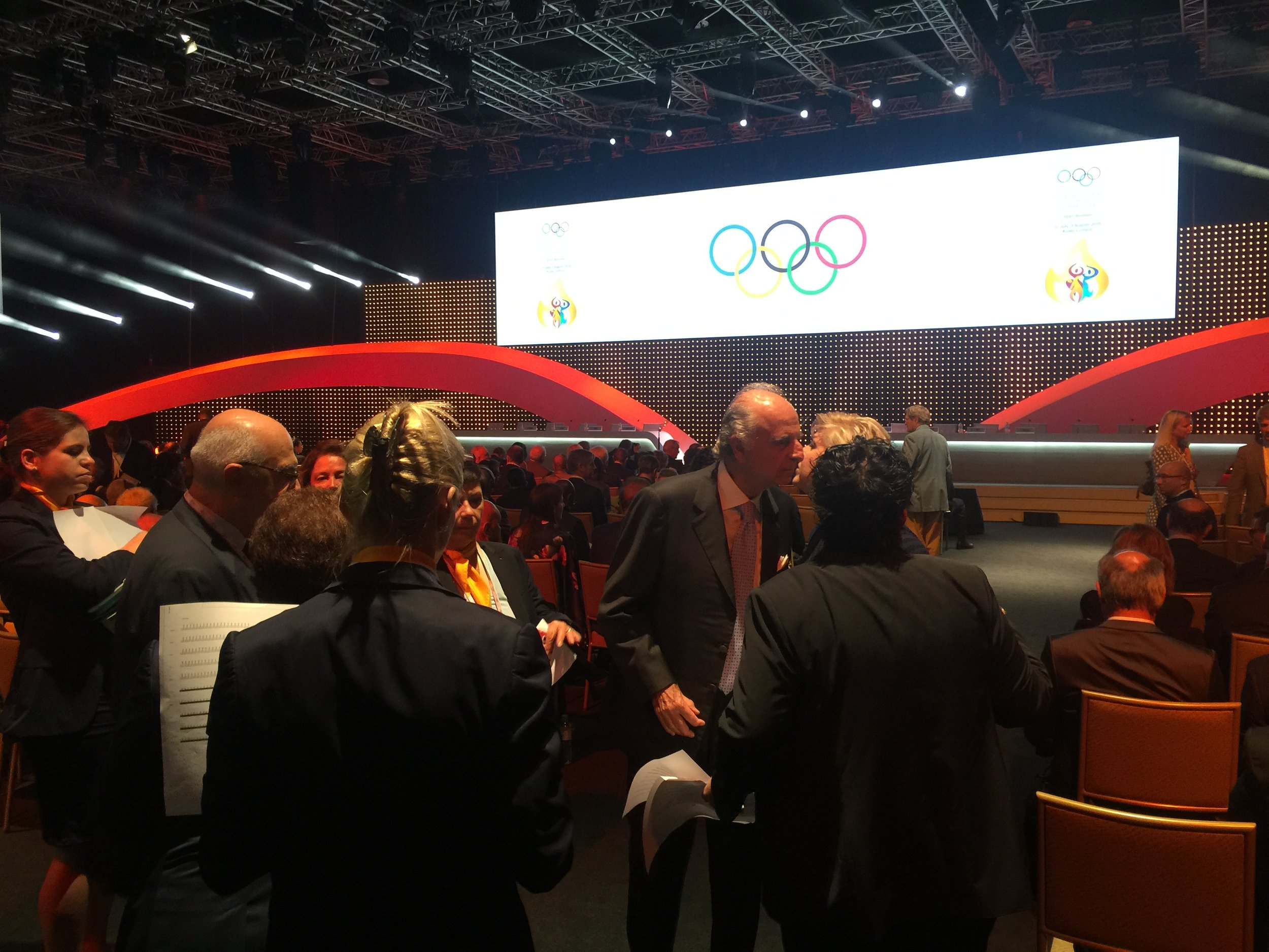 Veteran IOC member Mario Pescante of Italy moments before Friday's presentations