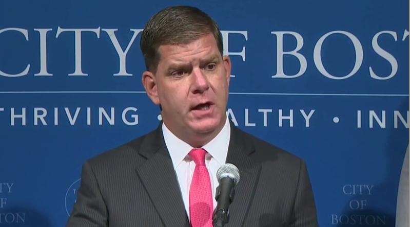 Boston Mayor Marty Walsh at Monday's news conference // screenshot