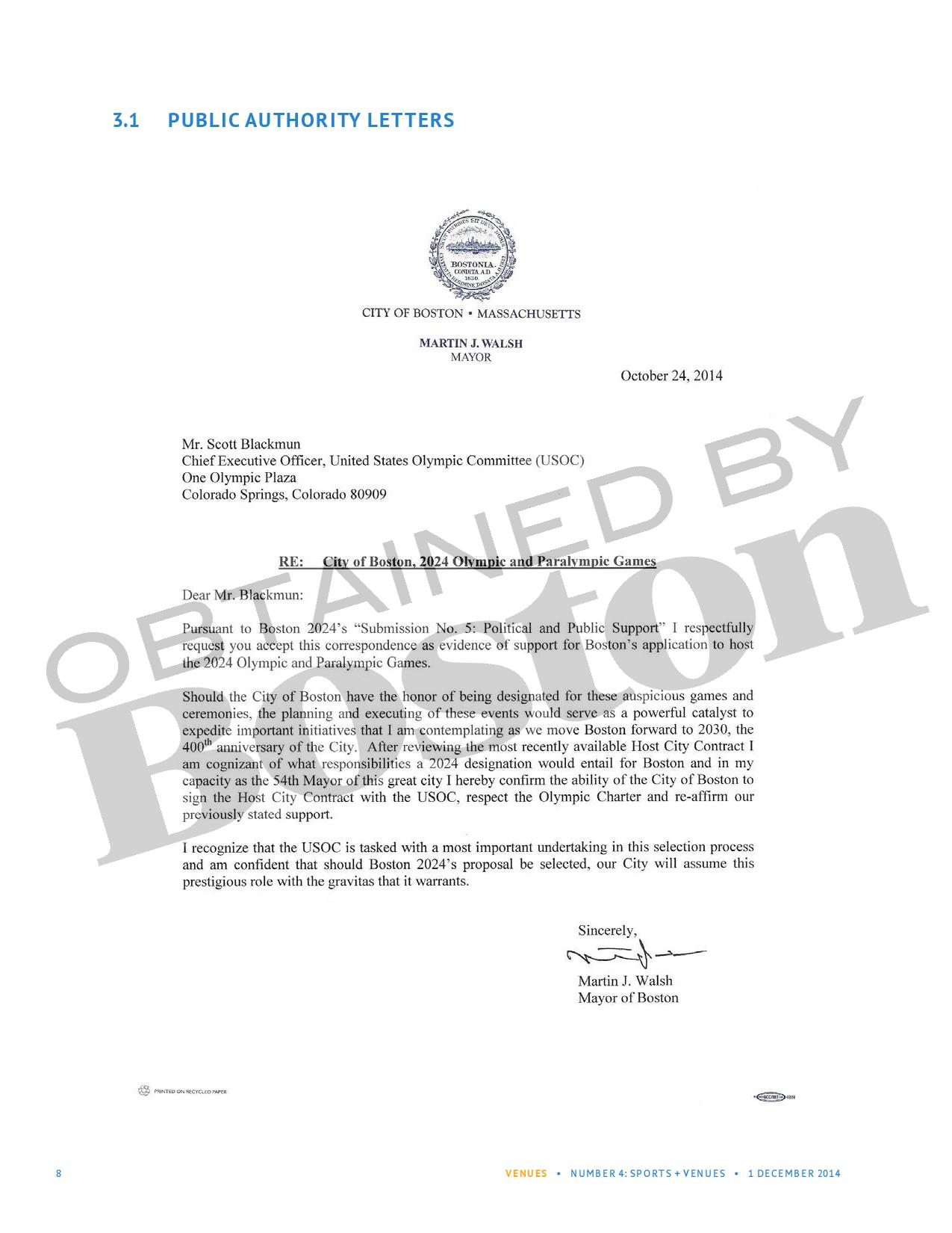 The October letter signed by Mayor Walsh