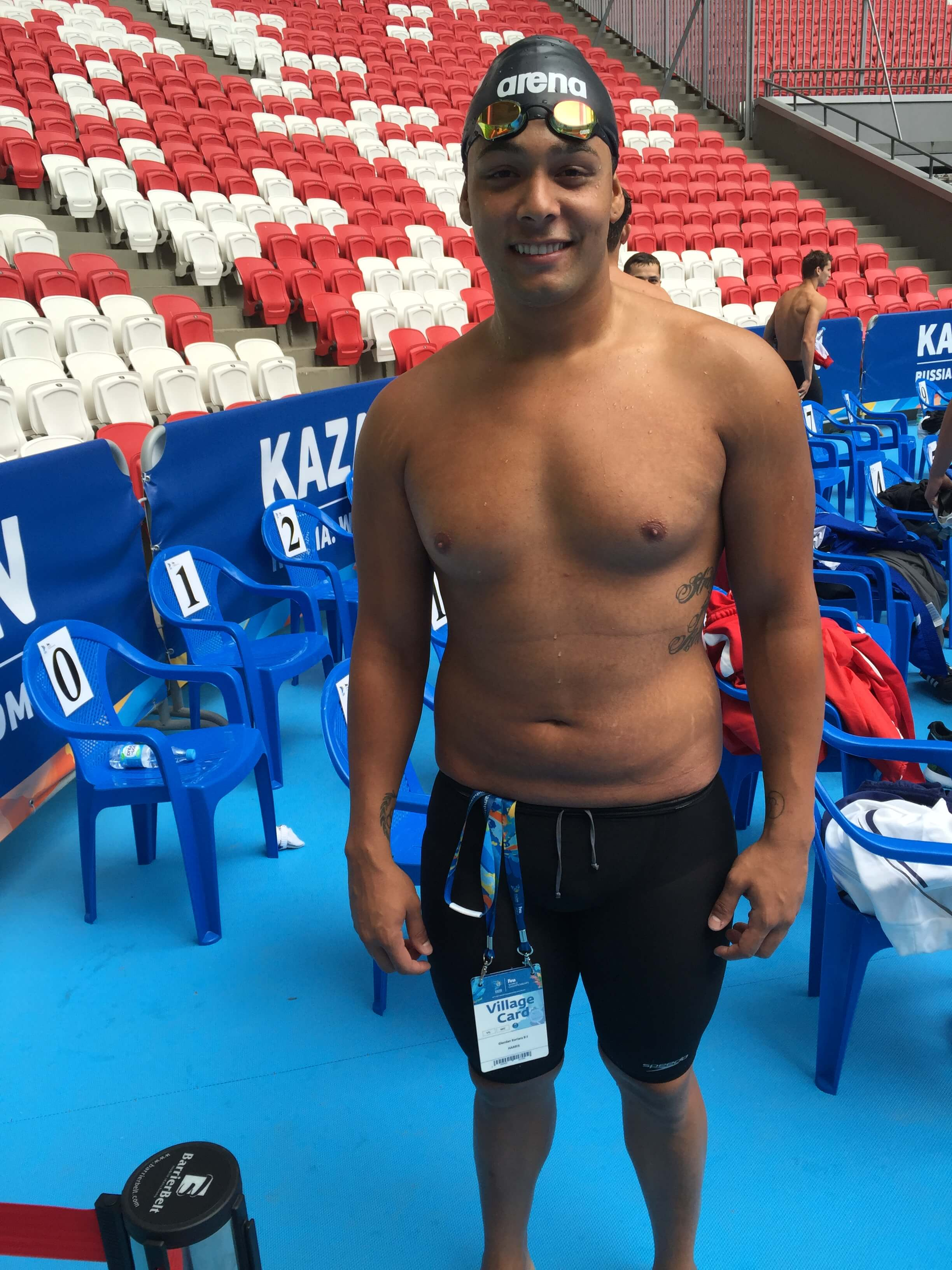 Giordan Harris of the Marshall Islands after his 100 free swim