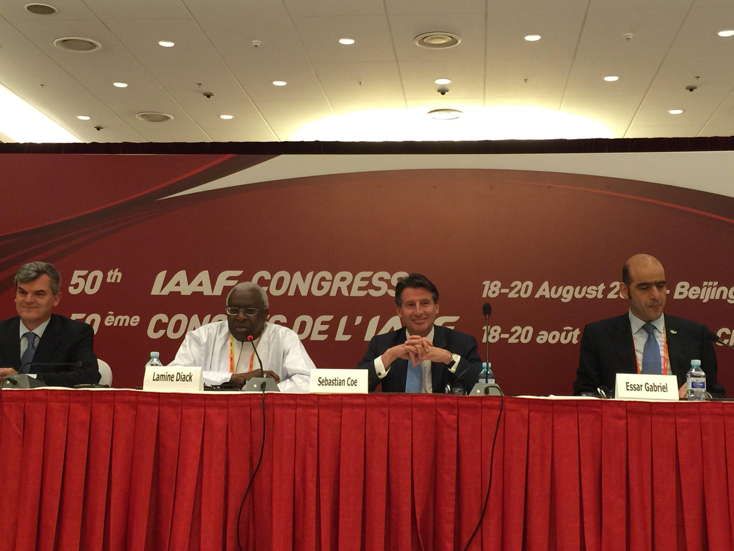 Post-election news conference: IAAF spokesman Nick Davies; president Lamine Diack; president-elect Seb Coe; general secretary Essar Gabriel