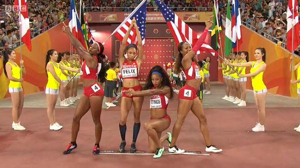 Left to right, before the 4x4 relay: Francena McCorory, Allyson Felix, Natasha Hastings, Sanya Richards-Ross // Photo via Twitter