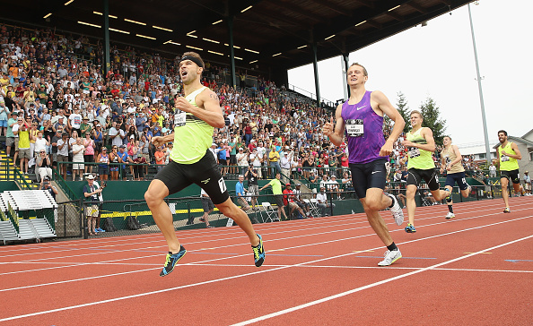Nick Symmonds running to victory at the US nationals at Hayward Field // Getty Images