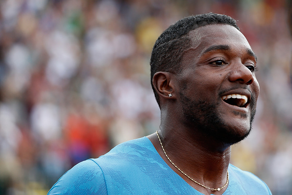 Justin Gatlin in June at Hayward Field in Eugene, Oregon, after running 19.57 to win the 200 at the U.S. nationals // Getty Images