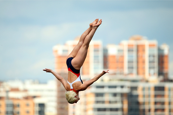 Rachelle Simpson in the women's high dive finals // Getty Images