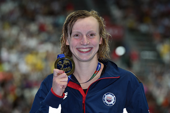 Katie Ledecky with her 1500 free gold medal // Getty Images