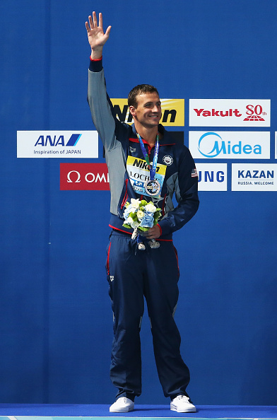 Ryan Lochte on the medals stand after winning the 200 IM // Getty Images