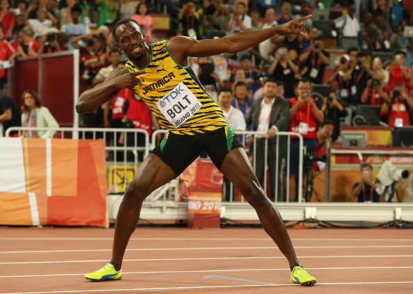 Bolt with his meme // Getty Images