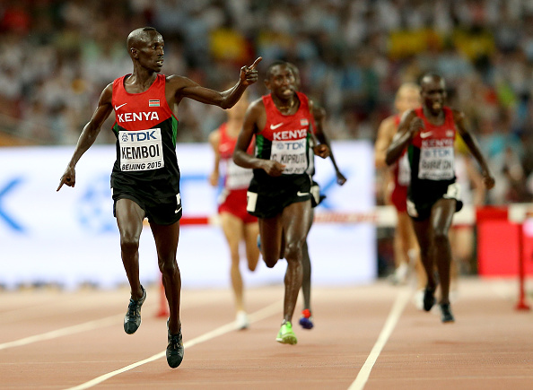 The master. Ezekiel Kemboi, leads the Kenyan continent to the line // Getty Images