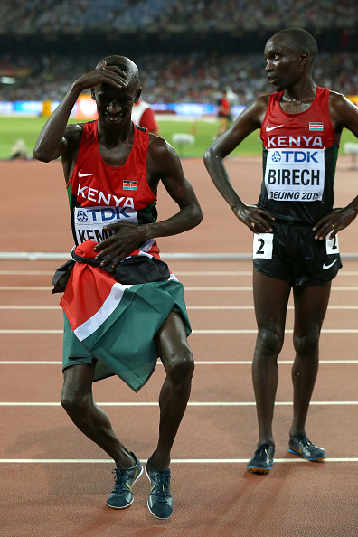 Kemboi, left, after winning again in Beijing // Getty Images