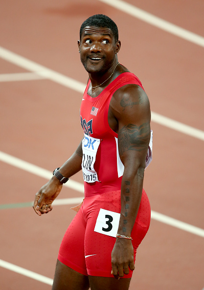 Justin Gatlin after his 200 heat // Getty Images