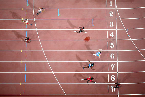 Nicholas Bett of Kenya, in lane 9, winning the men's 400 hurdles // Getty Images