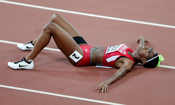 Shamier Little after winning silver in the women's 400 hurdles // Getty Images