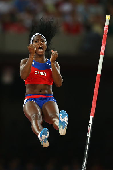 Yarisley Silva of Cuba on the way to winning the women's pole vault // Getty Images