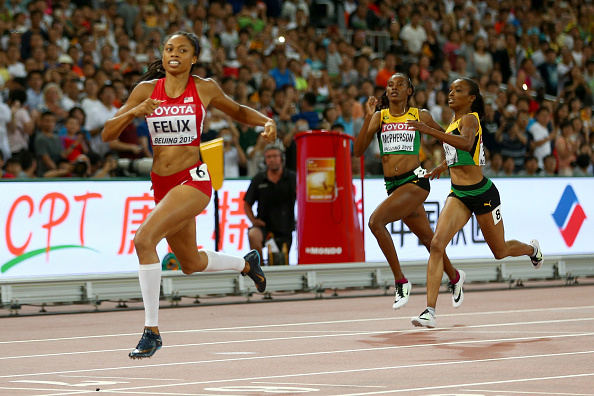 Allyson Felix winning the 400 // Getty Images