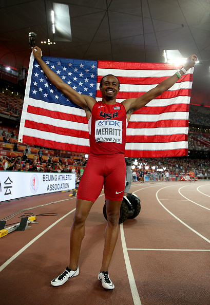 Aries Merritt after taking third place in the 110 hurdles // Getty Images