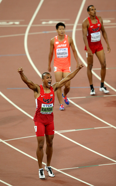 Ashton Eaton at the end of his decathlon 400 // Getty Images