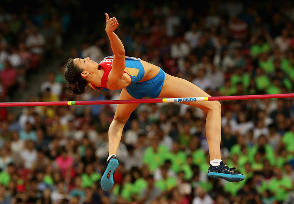 Russia's Maria Kuchina on the way to winning the women's high jump //
